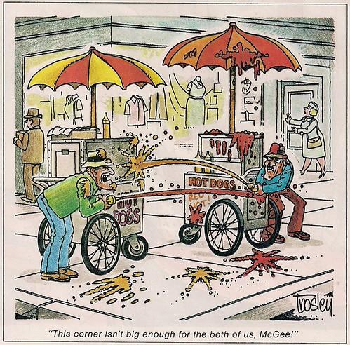 """August 1978 """"Hot Dog Vendors War"""" Cartoon"""