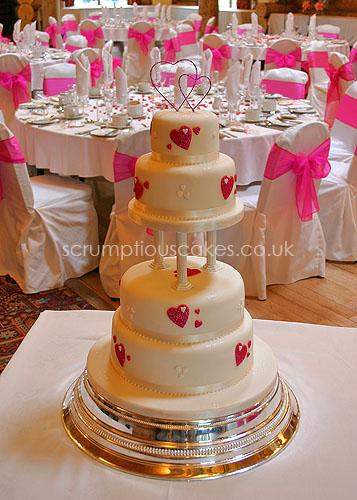 Wedding Cake (432) - Hot Pink Hearts