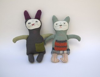 Green Kitty and Grey Charcoal Bunny