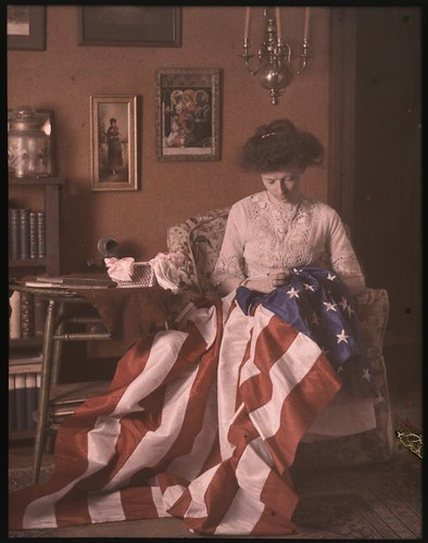 Woman making American Flag