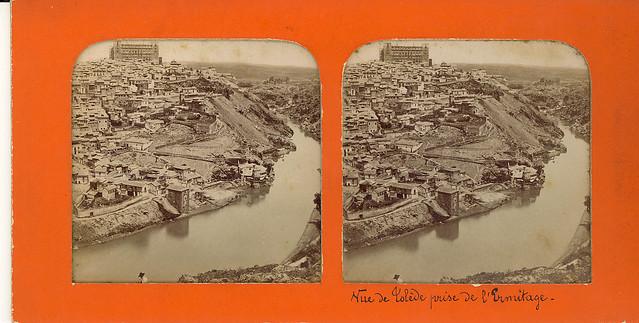 Fotografía estereoscópica de Toledo. Vista general hacia 1860 por Ernest Lamy