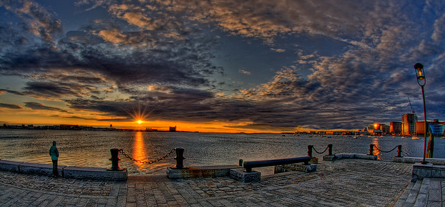Boston Sunrise over Logan Airport from Long Wharf