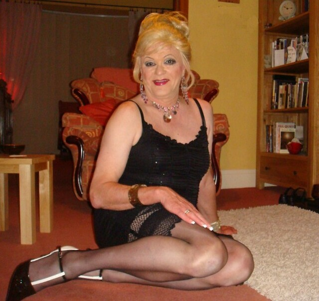 Lady suspender mature