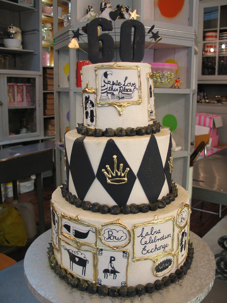Labia Theatre 60th Birthday Cake In Black White Gold Illustrations By Justin Southey