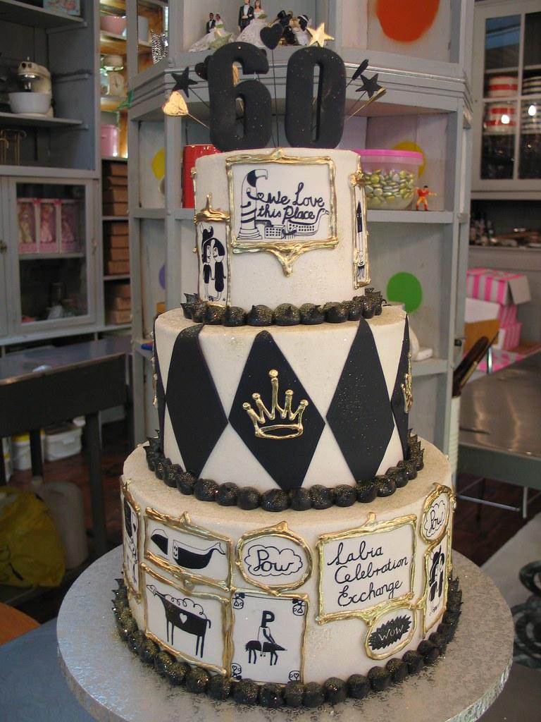 Labia Theatre 60th Birthday Cake In Black White Gold I