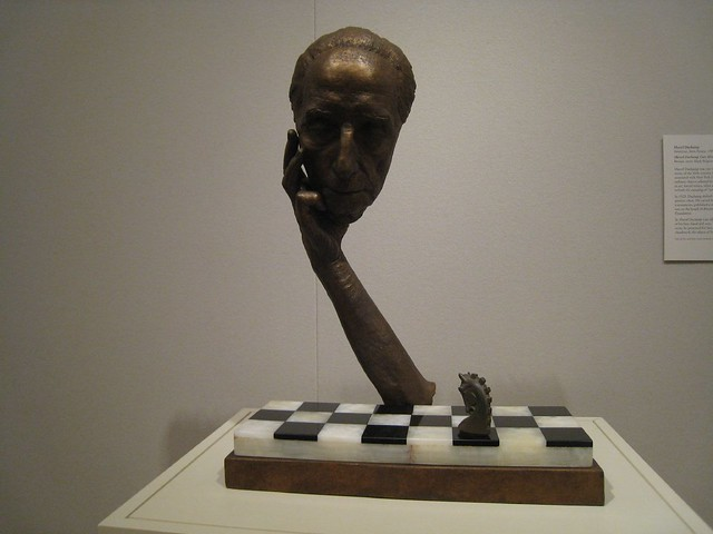Box text reads: Marcel Duchamp: Rubber Stamp Chess Set In