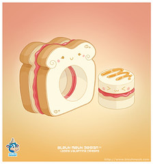 Kawaii Macadamia Nut Strawberry Jelly Sourdough Sandwich Vector