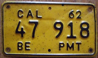 CALIFORNIA 1962 ---BOARD OF EQUALIZATION PERMIT SUPPLEMENTAL PLATE