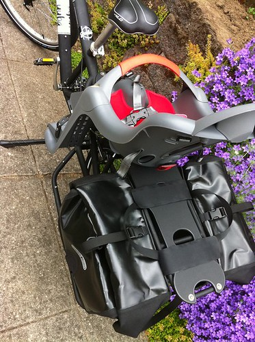 Ortlieb motorcycle saddlebags ($229) on the Yuba Mundo