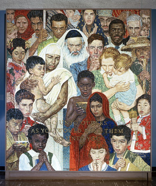 Norman rockwell mosaic the golden rule flickr photo for Golden rule painting