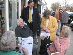 Martin Tod and Jackie Porter campaigning to 'Save Our Loos' in Broad Street, Alresford