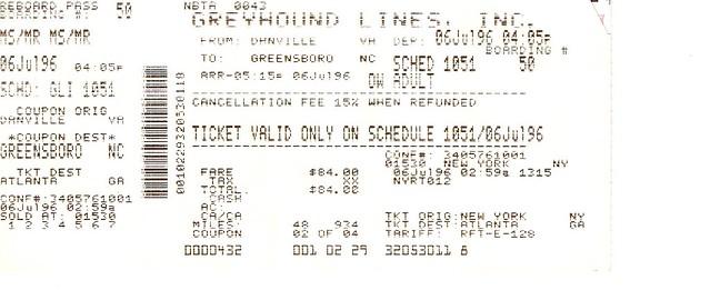 Greyhound Bus Ticket, NYC to Atl, July 1996   Flickr ...  Greyhound Bus T...