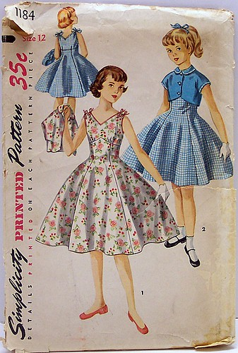 Simplicity 1184 Vintage 50's Sewing Pattern Girls One Piece Rockabilly Empire Flared Dress with Bolero Short Jacket UNCUT