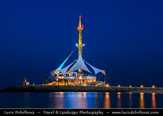 Kuwait - Marina Waves on Salmiya Beach at Dusk - Twilight - Blue Hour - Night