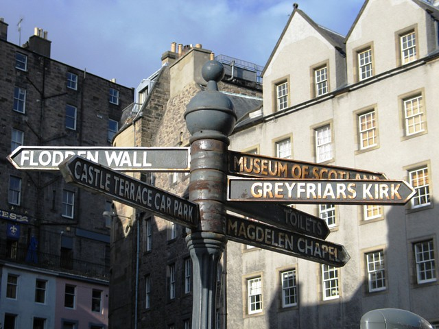 A Streetsign in the Grassmarket, Edinburgh