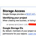 Google APIs Console Storage Access
