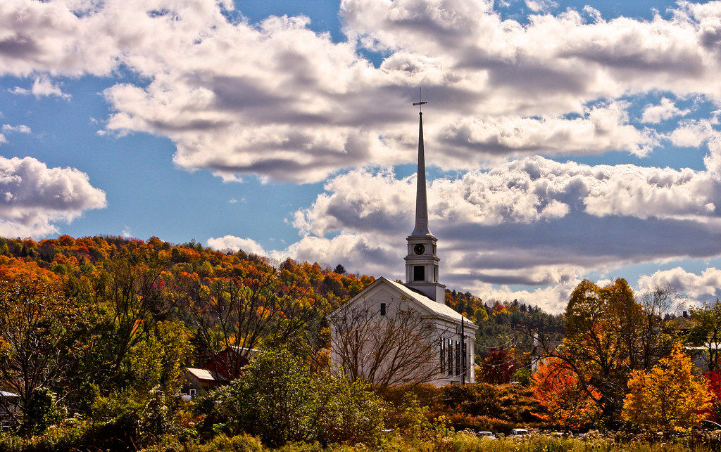 Church and Autumn Leaves - Stowe, VT