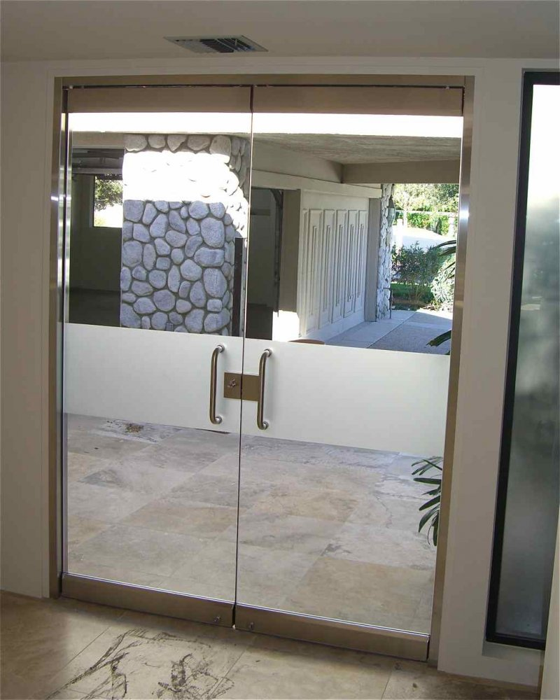 Etched Architectural Art Glass Frameless Door Simple Frosted Band