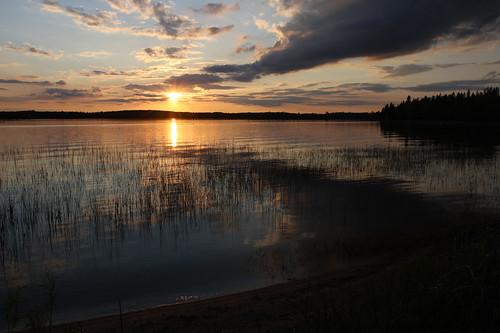 sunset vacation sky lake reflection minnesota clouds twoinletslake brooksideresort