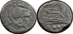 97/4 Luceria L Triens. Roman mint. oooo / L / Minerva; Prow, vertical stem / L / oooo. ACM#03143-23, 22g99