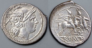 60/1 caduceus Denarius. Roma Dioscuri, AM#0711-43, 20x22mm, 4g28