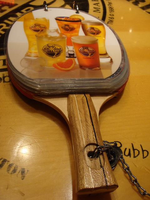 Bubba gump table tennis bat drinks menu explore ben for Table 52 drink menu