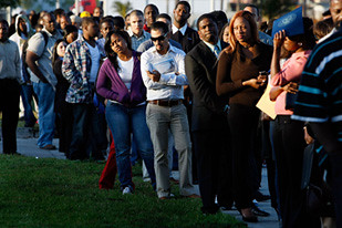 People wait by the thousands in the United States in a hopeless quest for meaningful employment. Despite claims by the Obama administration of a potential recovery, unemployment and home foreclosures continue to rise. by Pan-African News Wire File Photos