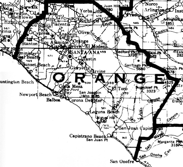 Small map of Orange County, 1928