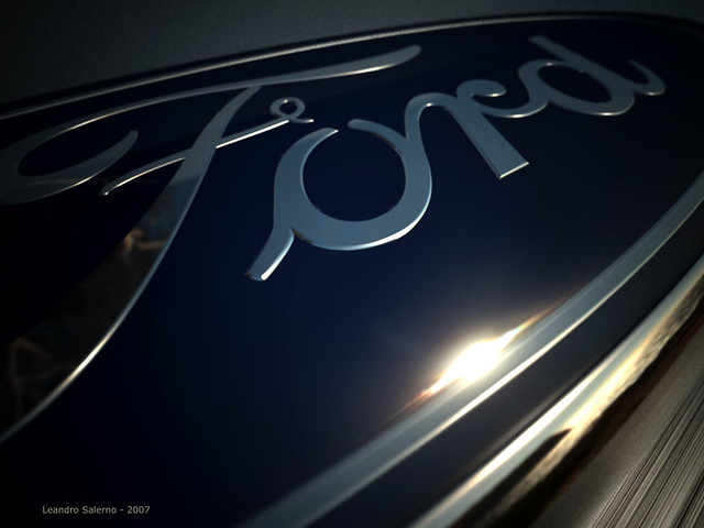 3D Ford Logo atardecer angular