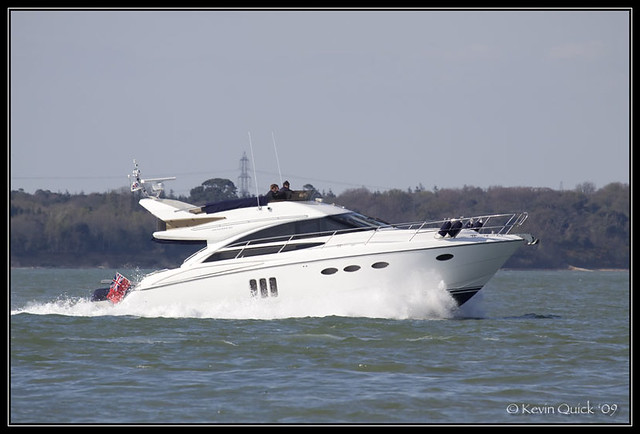 Princess 50 Flybridge motor yacht. Photographed off Cowes, Isle of Wight, UK