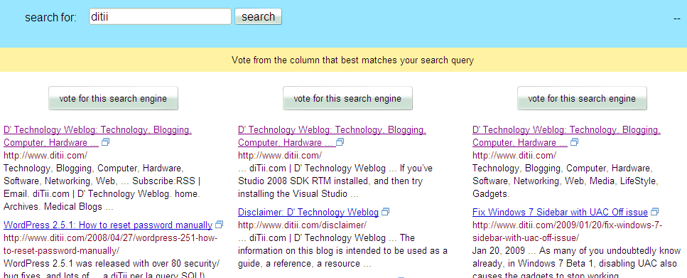 blindsearch  bing vs google vs yahoo search engine test