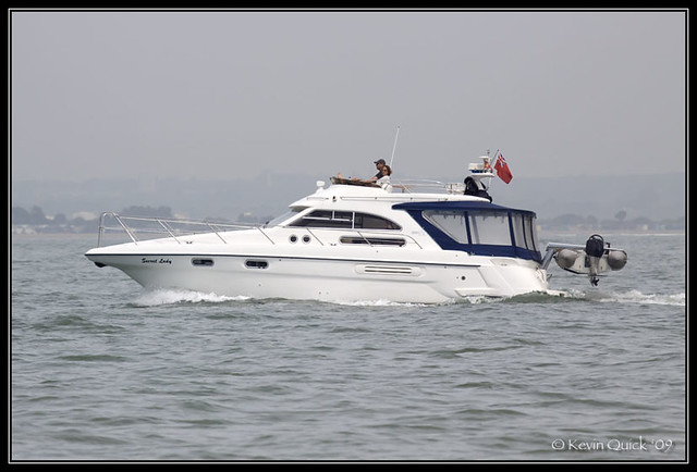 Sealine 360 Statesman motor yacht off Cowes, Isle of Wight, UK