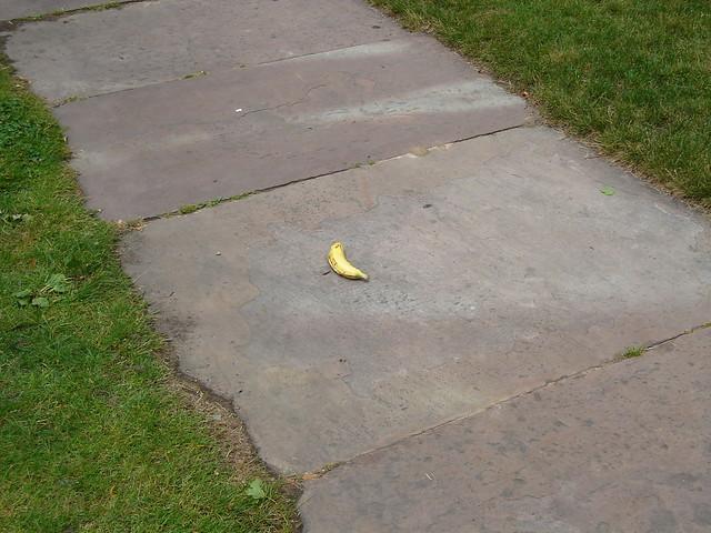 Banana Peel on a Sidewalk