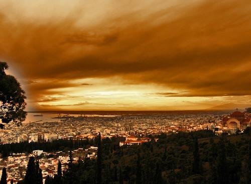 sunset high view hellas greece macedonia thessaloniki ηλιοβασίλεμα δύση ελλαδα ψηλά θεσσαλονικη θεα ήλιοσ μακεδονια