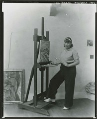 Nan Mason, American painter, 1896-1982, at work in her studio, Woodstock, New York