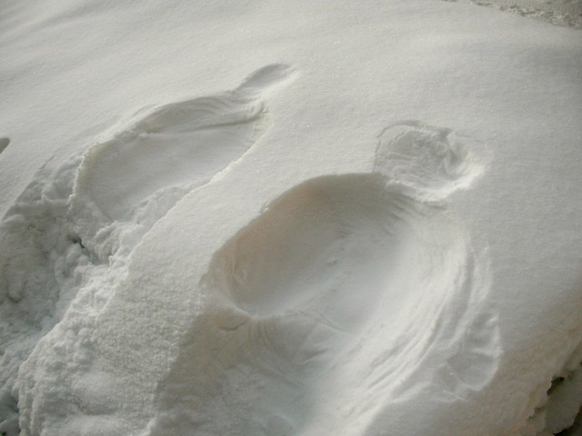 Human shape in the snow.
