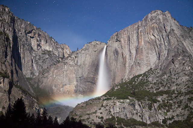 Night Moonbow in Upper Yosemite Falls