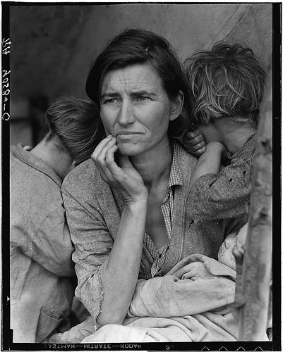 Destitute pea pickers in California. Mother of seven children. Age thirty-two. Nipomo, California (LOC)