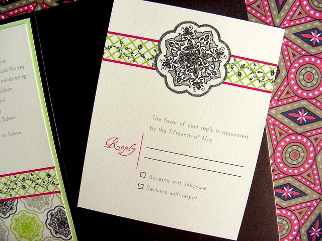 Pure opulence and luxury are the theme of this elegant wedding invitation