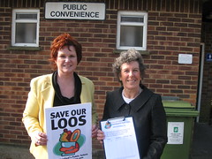 Sharon Bowles MEP and Jackie Porter campaigning to save Alresford's loos
