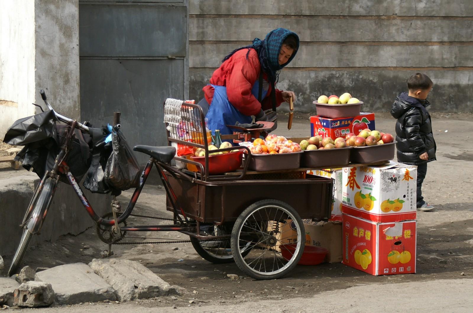 Fruit vendor in Taehak Street, Pyongyang
