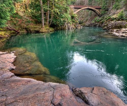 bridge nature river nw lewis wa washingtonstate hdr yacolt nikond90 moultonfallsparkbridge