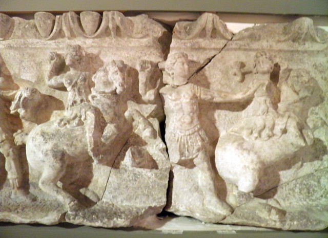 Frieze of the temple of Artemis Leukophryene, detail of an Amazonomachy, 2nd century BC, Magnesia Ad Meandrum, Istanbul Archeology Museum