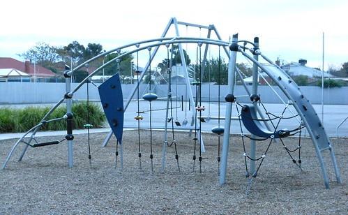 A newer style of playground equipment