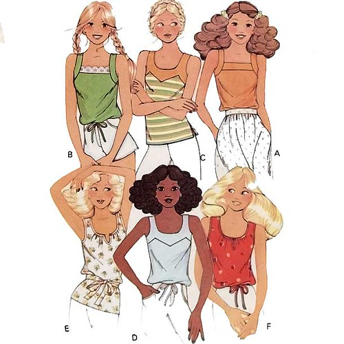 Uncut vintage 1970's summer tops sewing pattern
