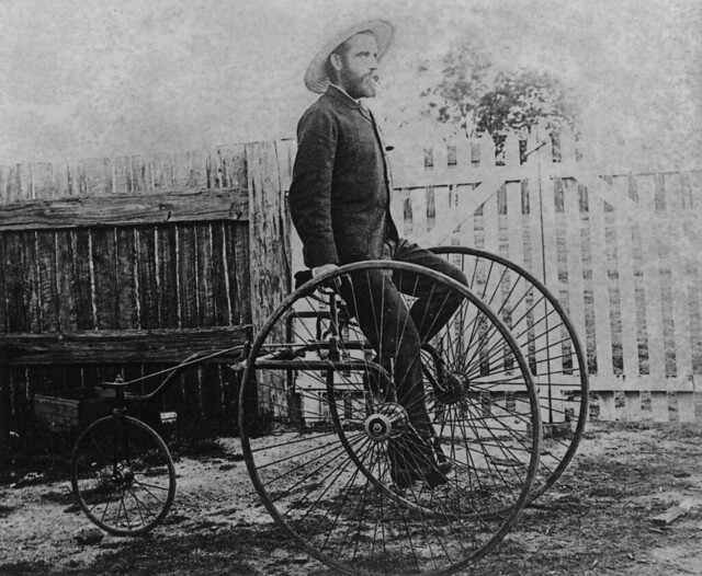 Queensland cyclist, R. James on a rear steering rotary tricycle, ca. 1884