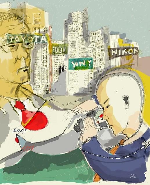 Ilustração sobre o Japão durante a crise de 2008/09. [Americo Gobbo, Gimp]