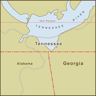 A Map Of The Georgia  Tennessee Border Dispute Over Water