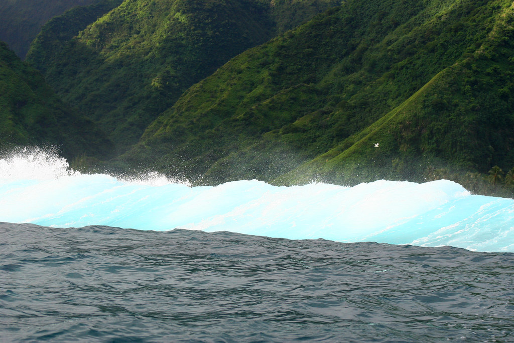 The view of the surf from the water at Teahupoo, Tahiti.