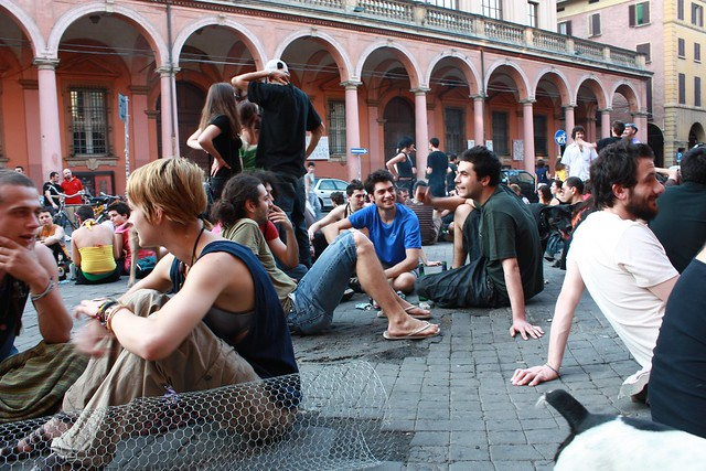 Protesting students in Piazza Verdi, Bologna